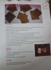 tablillas rugosas táctles de lija Montessori