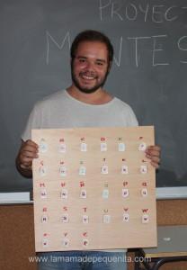abecedario montessori con tapones