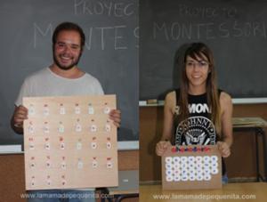 Inspirados en Montessori, abecedario de tapones