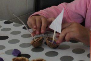 hacer barcos de cascara de nuez